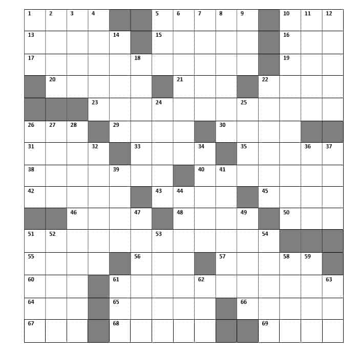 Crossword for insurance professionals