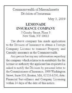 Lemonade, Mass insurtech news, Insurtech start-up Lemonade, Does Lemonade sell insurance in Massachusetts?