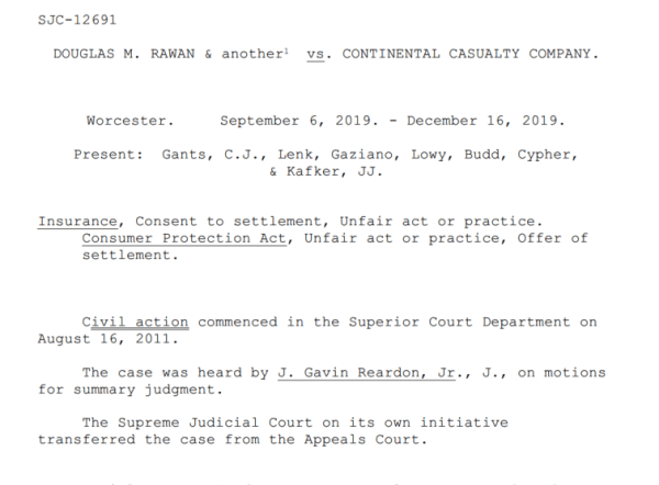 First page of the Supreme Judicial Court's decision on the legality of consent-to-settle clauses.