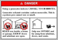 Product Safety Commisson warning on using gas generators indoors