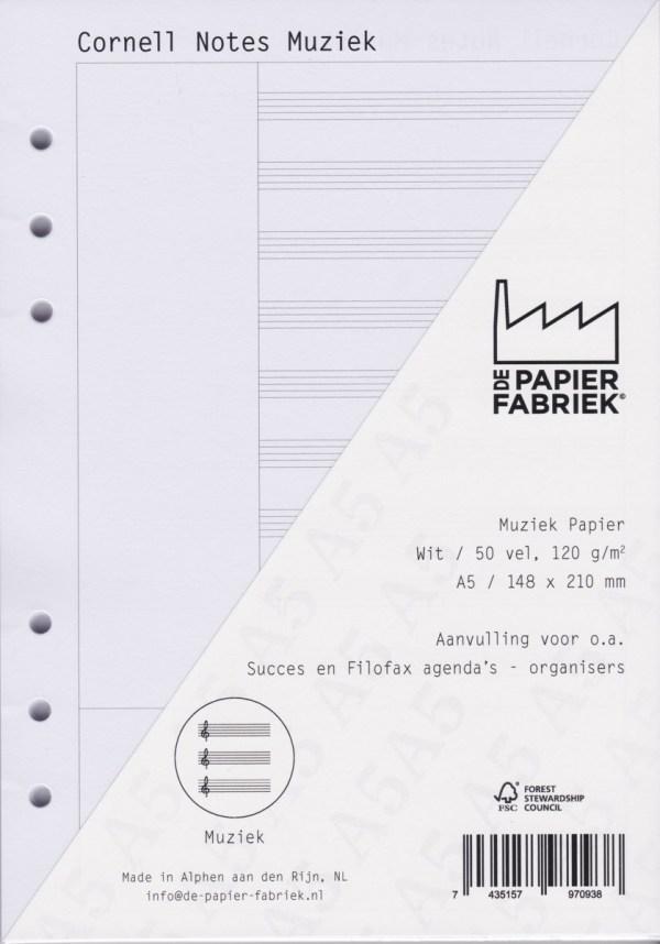 Agenda Vulling A5 Wit Cornell Muziek, 6 Rings (1 st) [BOP-A5CW]