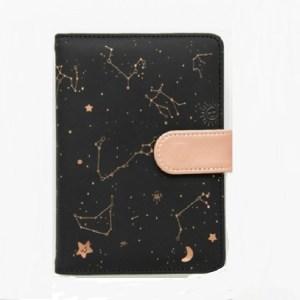 2453 Creative Constellation Schedule Planner Notebook Kawaii Scrapbook Soft Cover Diary Notebooks Office School Supplies(Black)