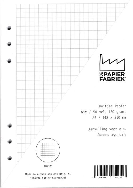 Agenda Vulling A5 Wit Ruitjes Papier, 6 Rings (1 st) [BOP-A5RW]