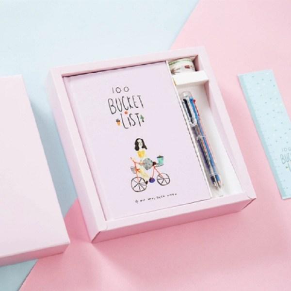 Planner Agenda planner notebook briefpapier cadeau met pen & stickers (roze)