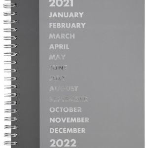 HEMA Bureau Agenda Met Spiraal 2021 - 26x21 - Meertalig Grijs