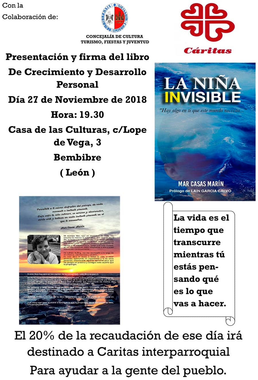 cartel presentacion la nina invisible de mar casas marin en la casa de las culturas de bembibre el bierzo