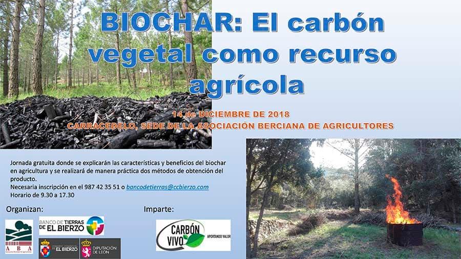 cartel jornadas sobre el uso del carbon vegetal en el mundo agricola por el banco de tierras y aba el bierzo