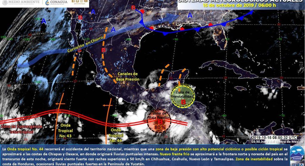Un nuevo Frente Frío y la onda Tropical 44 traerán lluvias en gran parte de México