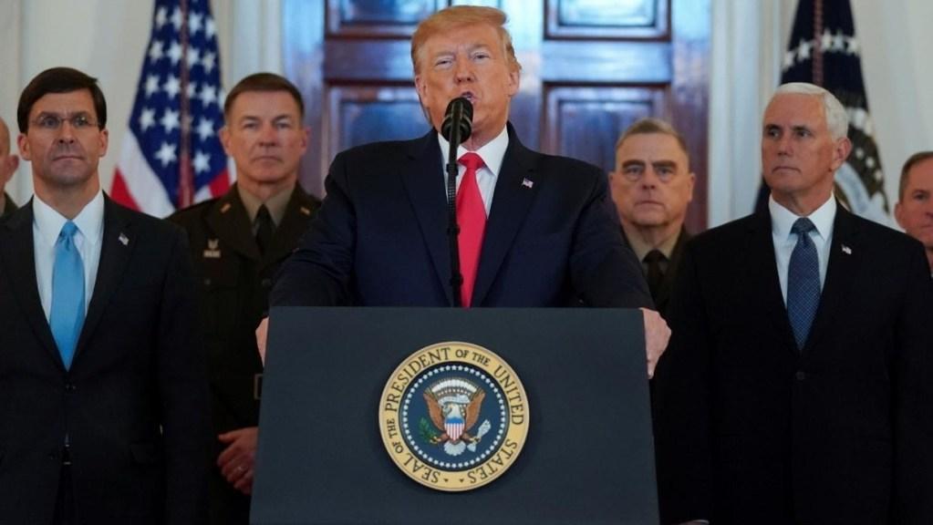 Fuertes sanciones económicas a Irán por ataques a bases militares anuncia Trump