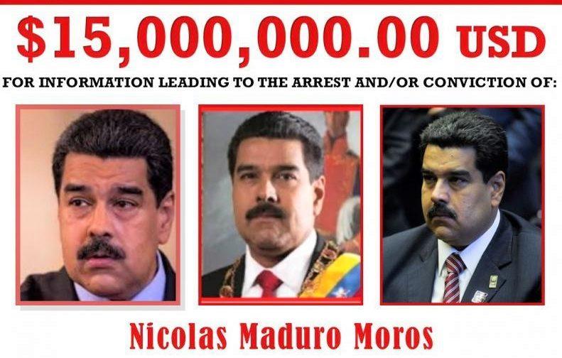 Nicolas Maduro es acusado por narcotráfico, 15 mdp ofrece Estados Unidos por su cabeza