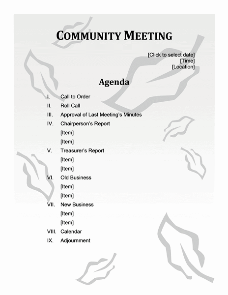Download Ms Office Community Meeting Agenda Leaf