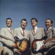 Posing for a publicity photo in the 1950s are the original four-piece Buddy Holly and the Crickets. Band members are, from left, Niki Sullivan, rhythm guitar; Jerry Allison, drums; Buddy Holly, lead vocals and lead guitar; and Joe B. Mauldin, standup bass. The Crickets will be inducted into the Rock 'n' Roll Hall of Fame in Cleveland on April 14.