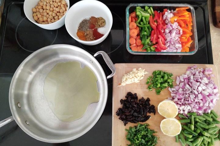 mise en place for moroccan couscous