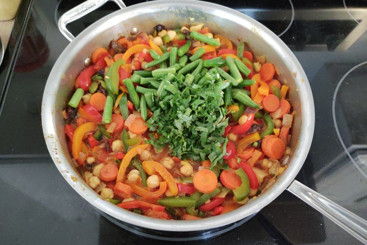 Added green beans, chickpeas and cilantro to moroccan couscous