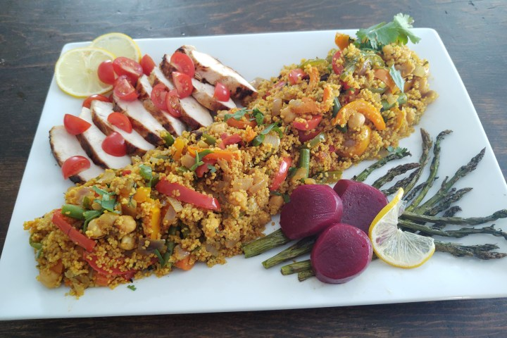 Moroccan vegetable couscous with chicken and beets