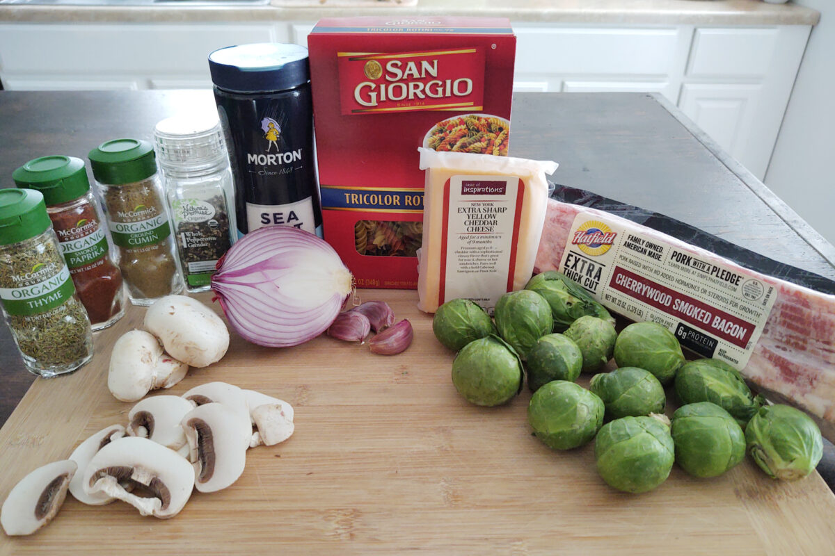 Ingredients for Cheesy Brussels Sprouts Carbonara with Bacon and Mushrooms