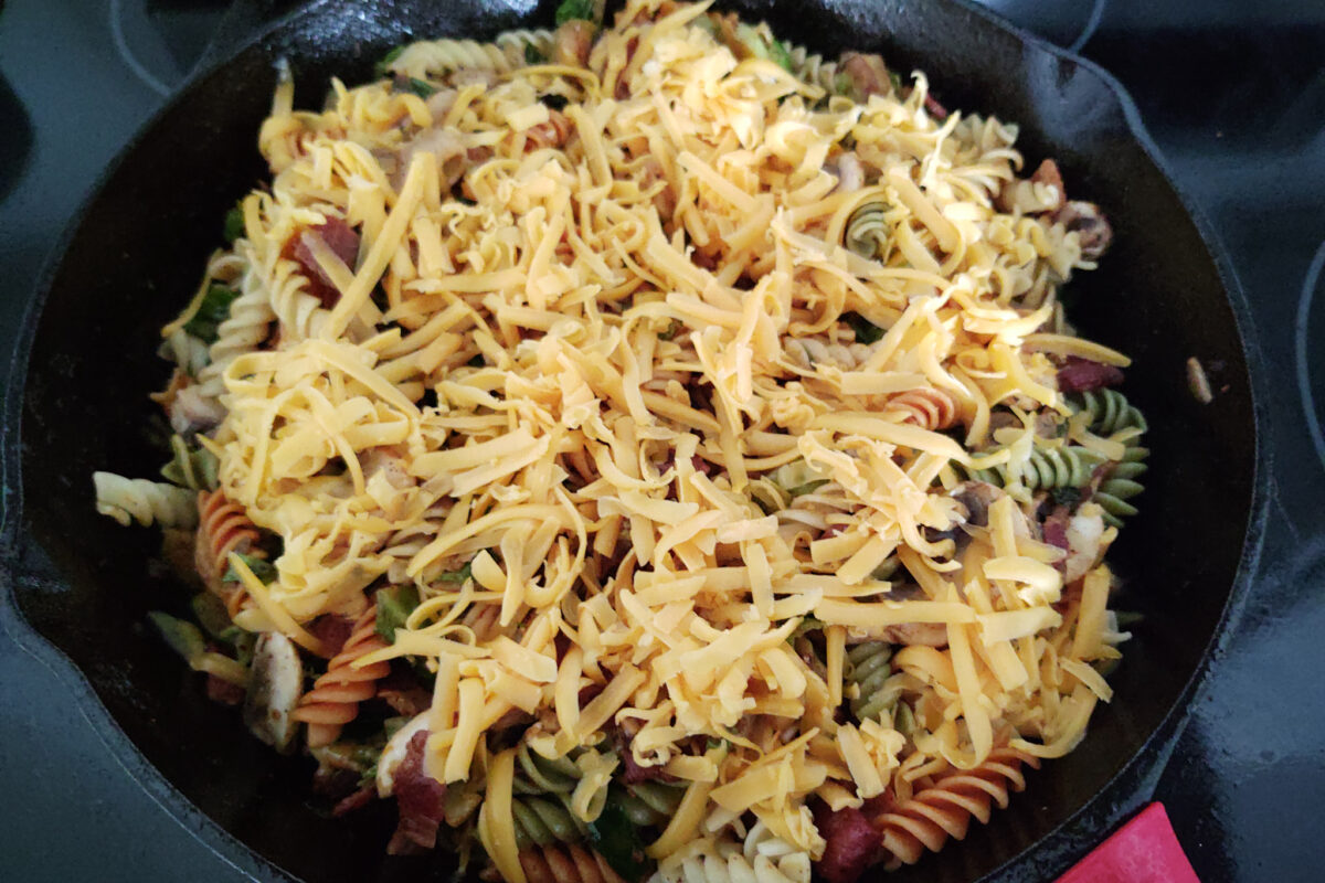 Brussels Sprouts Carbonara with Shredded Cheese - cooking