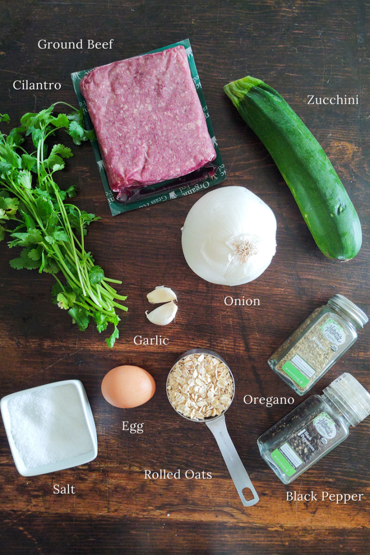 A display of ingredients for Middle Eastern Beef Patty