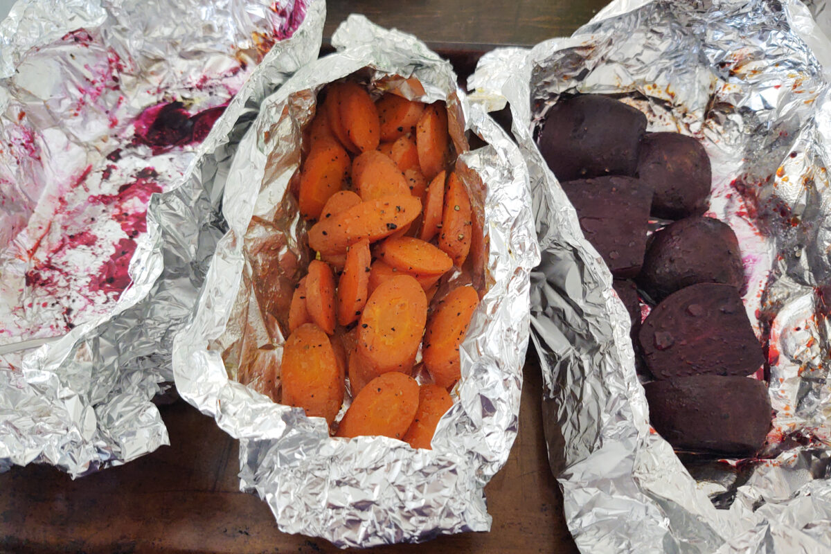 Carrots and Beet in foil after roasting in oven
