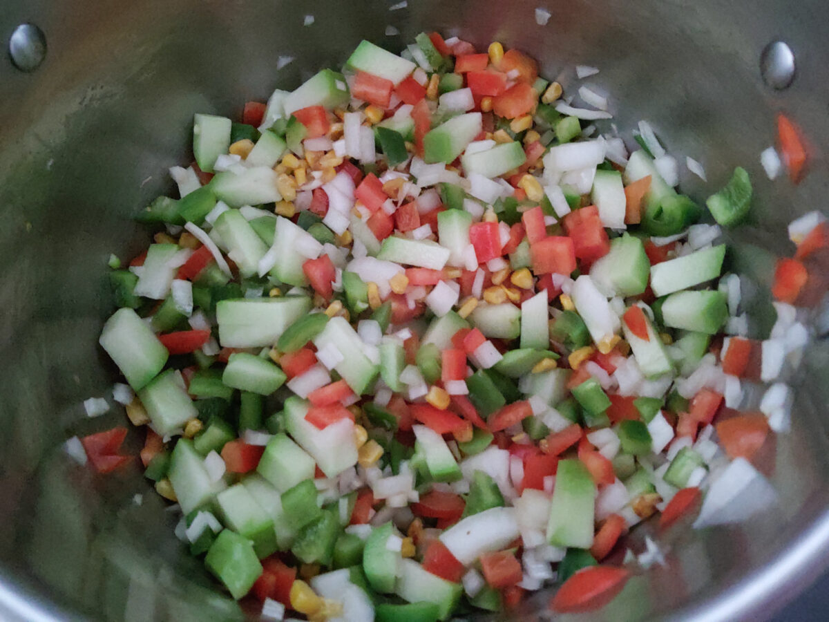vegetables with roasted corn for chicken tortilla soup