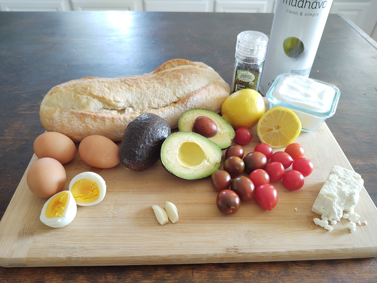 A display of ingredients for avocado toast