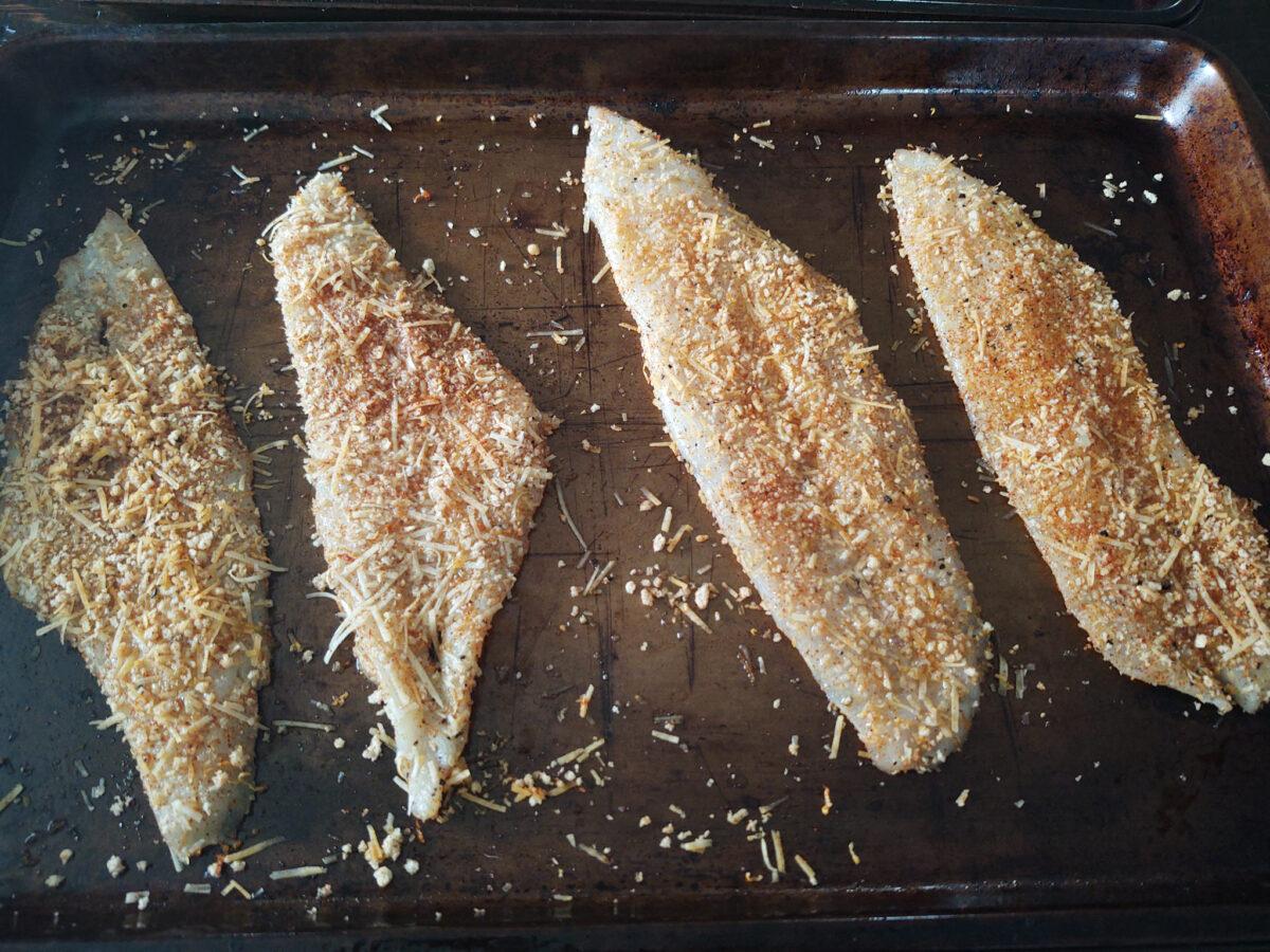 Lemon zest flounder crusted prior to baking