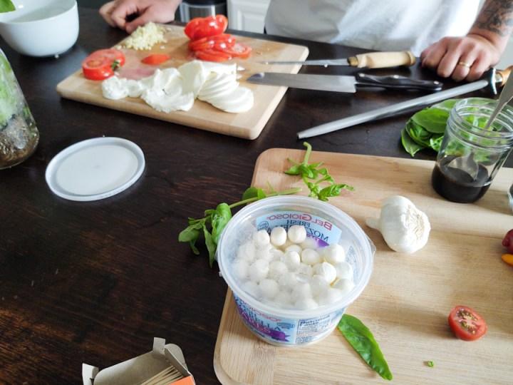 Preparation of Caprese Salad Summertime Appetizer 1