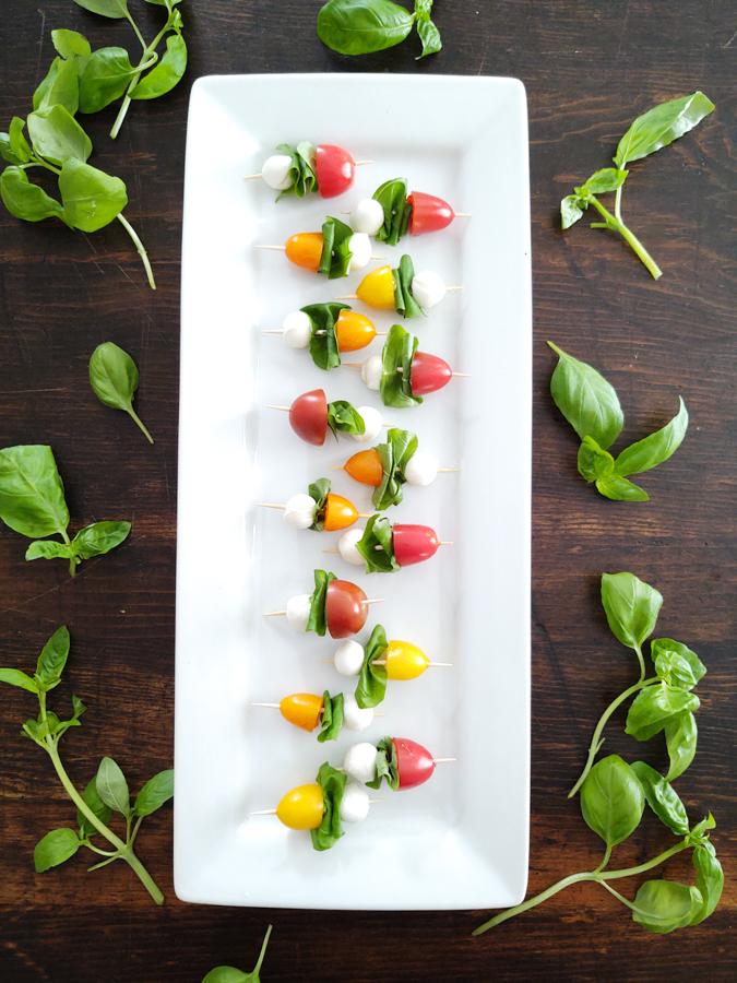 Finished shot of Caprese Salad Summertime Appetizer without Balsamic Glaze