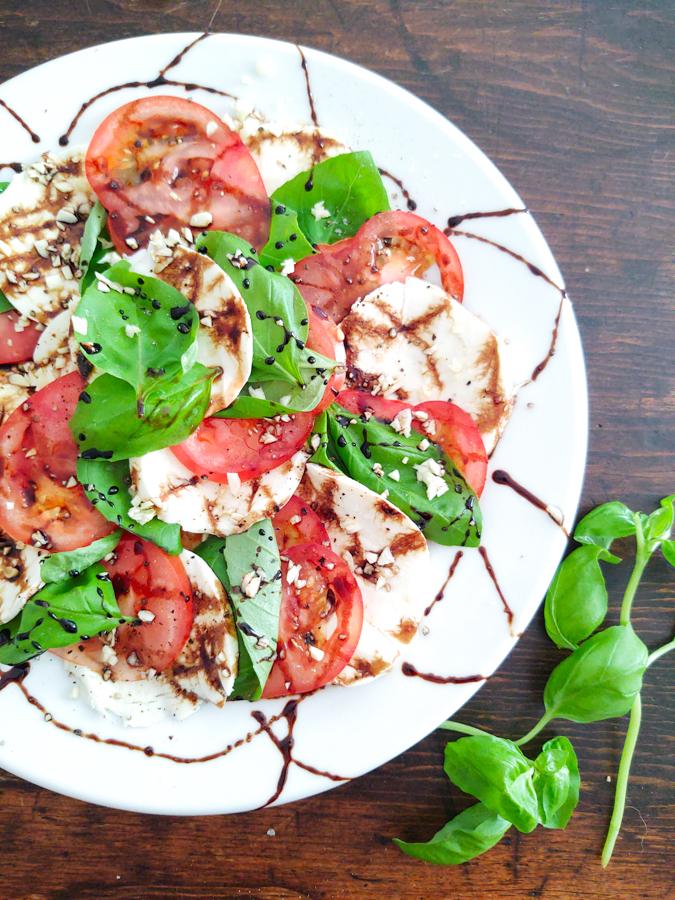 Finished Shot of Side dish Caprese Salad Summertime Appetizer