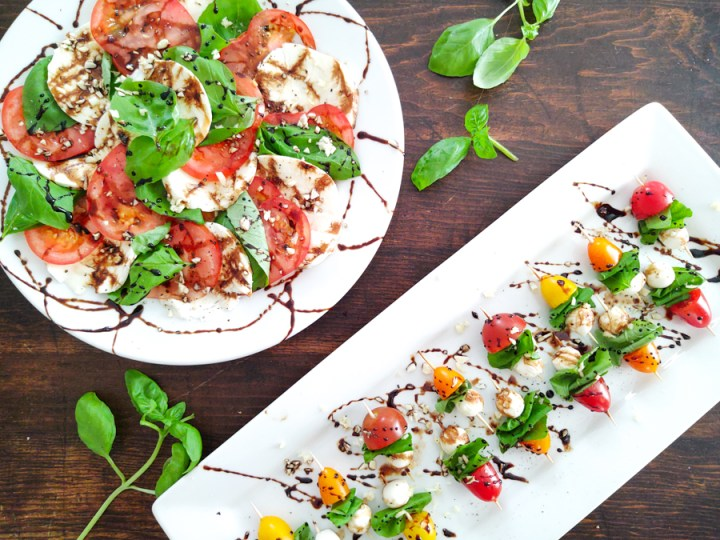 Finished shot of Appetizer and Side Dish Summertime Caprese Salad