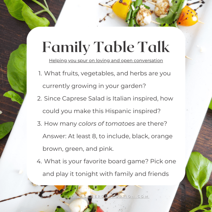 Family questions about Summertime Caprese Salad Appetizer