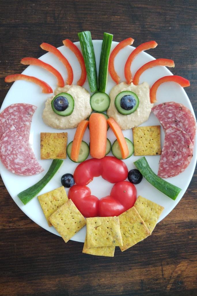 Food Art - Veggie face with Creamy Hummus