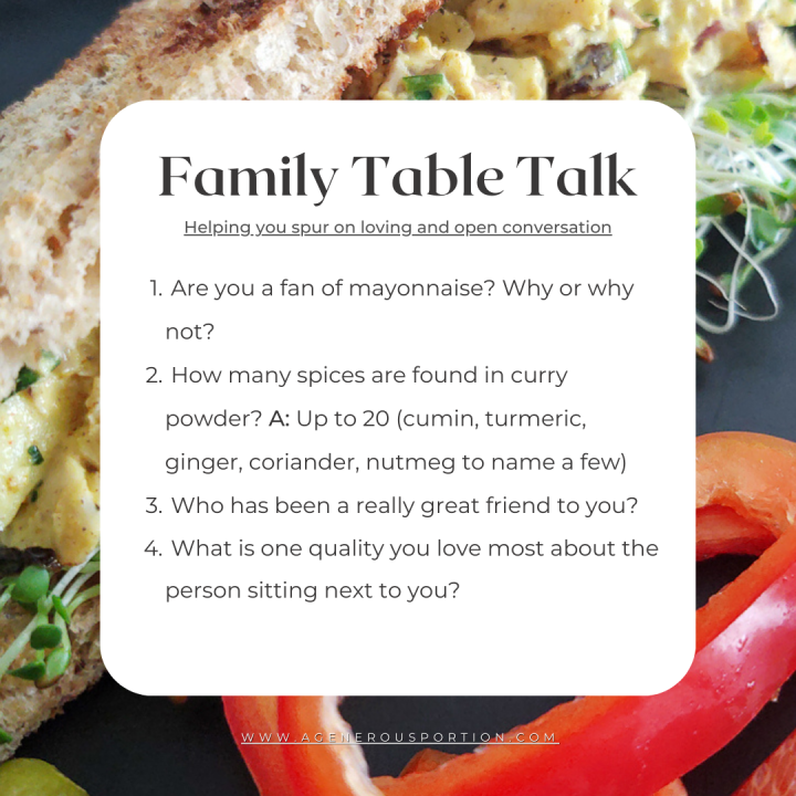 Questions to answer at the table