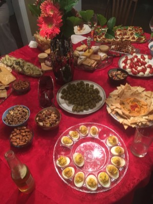 Ah.. my home away from my apartment. The party food table.