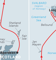 map of exploring spitsbergen via the faroes and jan mayen including faroe islands norway  [ 1100 x 735 Pixel ]