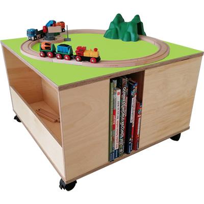 Ravensburger Spieltisch mit Regalschütte für Brio-Bahn und Bücherregal