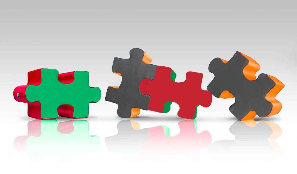 Ravensburger, Spielelement, Puzzle Hocker, Übersicht, stabil, bunt, Puzzleteile, Schaumstoff, Kinderzimmer, Spielecke