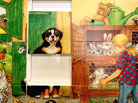 Ravensburger, Spielelement, Schiebepuzzle, Bauernhof, Schiebespiel, Logik, Taktik, Großspiel, Wandspiel, Spaß, Beschäftigung, Wartezimmer