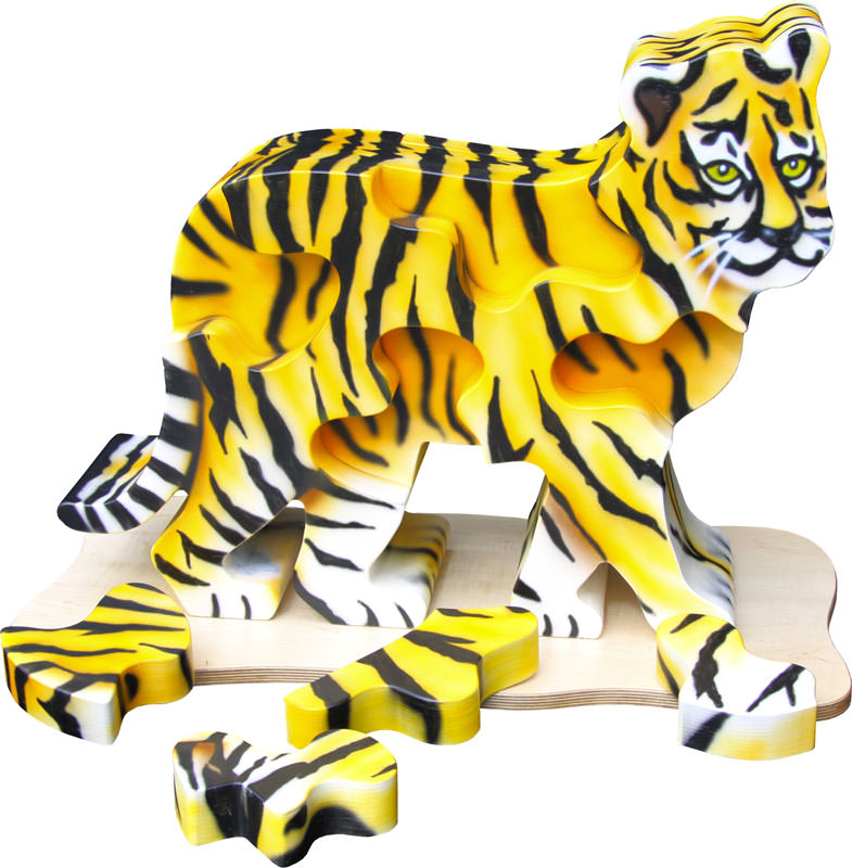 Kinderspielbereiche, Spielecke für Handel und Shoppingcenter, Spielecke im Wartebereich, Starbucks, Puzzle Tier, Tiger, Agentur Ravensburger