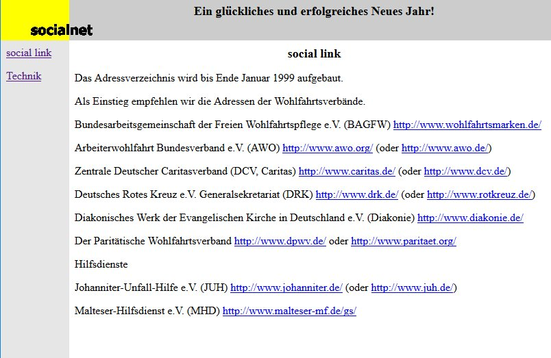 Screenshot der Website 1999