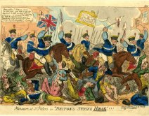 a colour print in caricature of men in blue uniforms on horseback striking a crowd with sabres