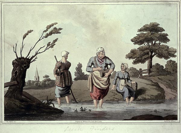 a ptrint showing women collecting something from a pond