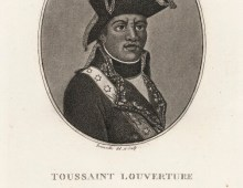 A black and white print with an oval shaped portrait in the centre of a man dressed in army uniform with a feathered hat.