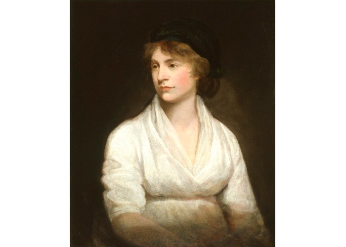 A portrait of a young woman dressed in a plain white dress and a dark black hat. She is gazing to the left of the frame with a still look on her face.