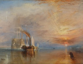 A portrait of a tall-ship being tugged into a harbour by a small steam ship at sunset.