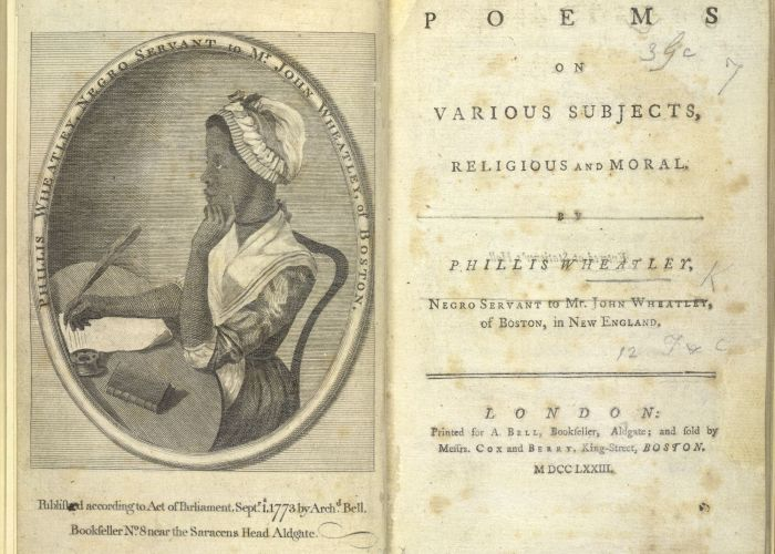 A photograph of the first page of a book of poetry. On the left hand page is a black and white print of a sketch of the author. The sketch shows a young woman seated at a desk writing on a piece of parchment with a quill. The opposite page shows the book title and publishers.