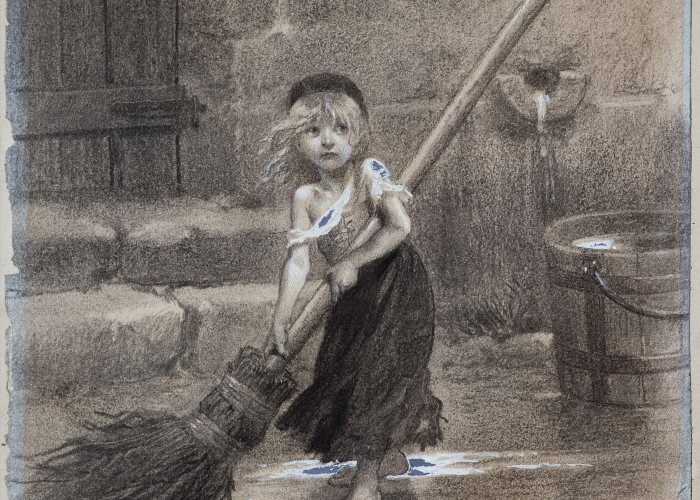A black and white sketch of a young girl sweeping in the street with a large broom made from twigs. The girls clothes are torn and in rags.