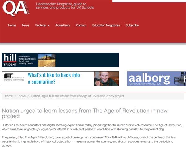 Screenshot of QA Education magazine