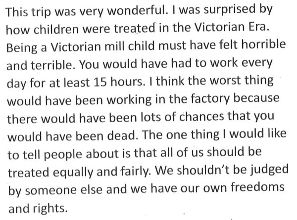 a student's reflection on mill children