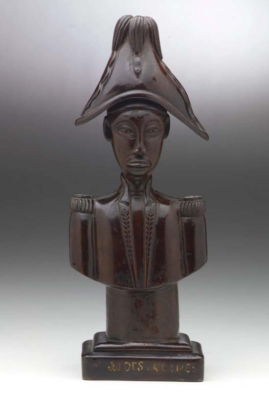 bust of a man of African origin in bicorn hat with plume